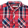 Chemise manches longues rouge à grand carreaux avec poches