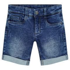 Bermuda en molleton effet jeans used