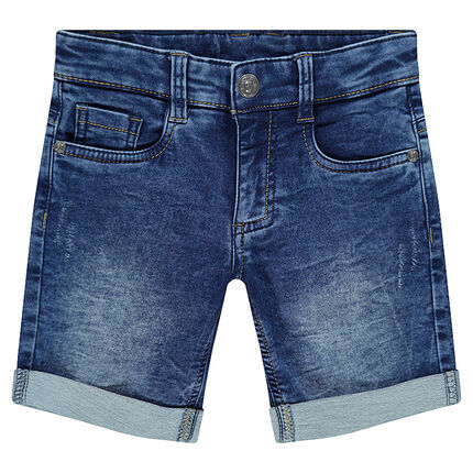 Junior - Bermuda en molleton effet jeans used
