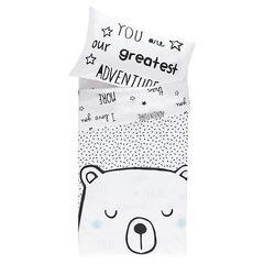 Parure housse de couette motif ours + taie d'oreiller + totebag - 140 x 100 cm