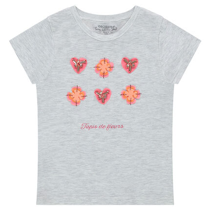 Tee-shirt manches courtes en jersey avec fleurs et perles fantaisie