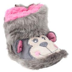 Chaussons forme bottines en fausse fourrure avec tête de singe