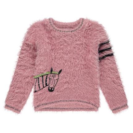 Pull en tricot poil avec zèbre brodé et bandes contrastées sur le bras