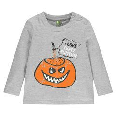 Tee-shirt manches longues print citrouille phosphorescente Halloween