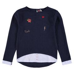 Junior - Tee-shirt manches longues effet 2 en 1 avec inscription en cordelette