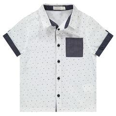 Chemise manches courtes à motifs graphiques et touches de chambray