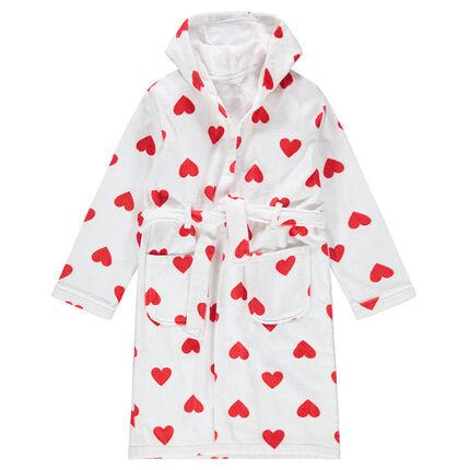 Junior - Peignoir à capuche en éponge avec coeurs all-over
