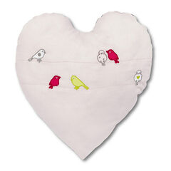 Coussin coeur en coton piqué avec oiseaux brodés