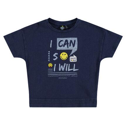 Tee-shirt manches courtes avec inscriptions et badges Smiley