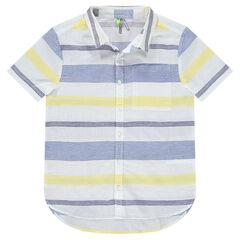 Junior - Chemise manches courtes à rayures fantaisie colorées
