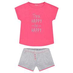 Junior - Pyjama en jersey avec message printé et short à pois all-over