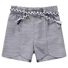Short en chambray avec corde de serrage