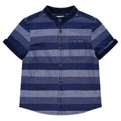 Chemise manches courtes effet jeans avec bandes contrastées