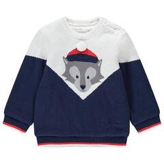 Pull en tricot doublé velours fin avec loup en jacquard
