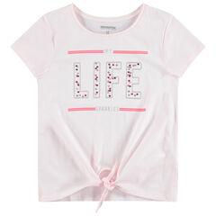 Junior - T-shirt manches courtes en jersey avec inscription en sequins et liens à nouer