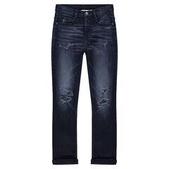 Junior - Jeans effet used et crinkle avec déchirures fantaisie