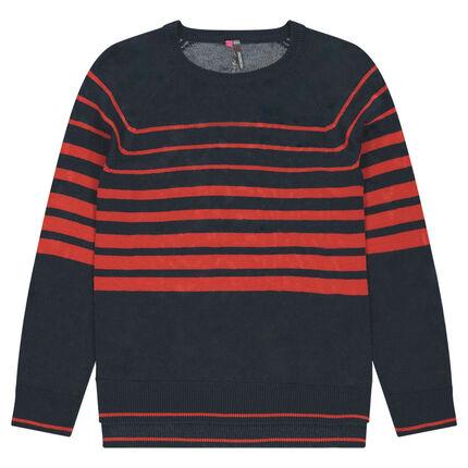 Pull en tricot fin avec rayures contrastées rouges