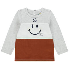 T-shirt manches longues tricolore print Smiley