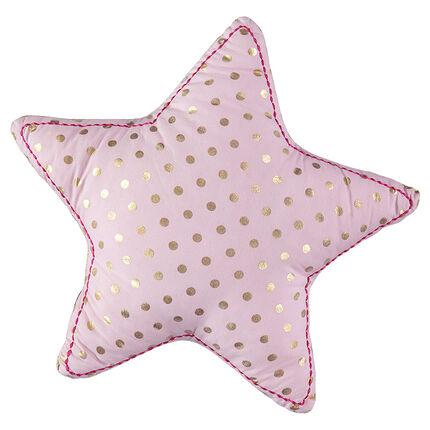 Coussin forme étoile à pois dorés all-over