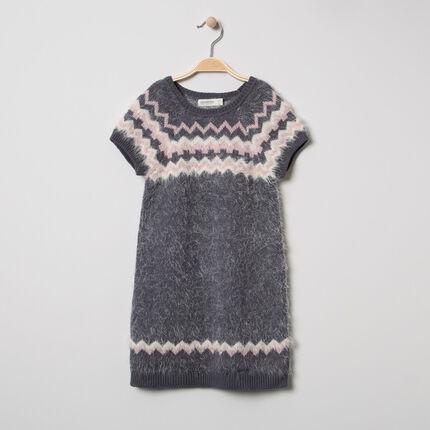 Robe manches courtes en tricot effet poil à motif graphique jacquard