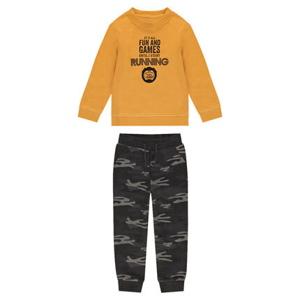 Jogging en molleton moutarde avec pantalon army