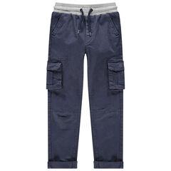 Pantalon cargo surteint à taille élastiquée
