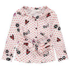 Chemise manches longues imprimée all-over avec ceinture à nouer