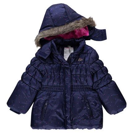 Doudoune imprimée à capuche amovible avec doublure sherpa et ceinture élastiquée