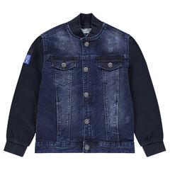 Junior - Veste en jeans esprit teddy avec manches en molleton
