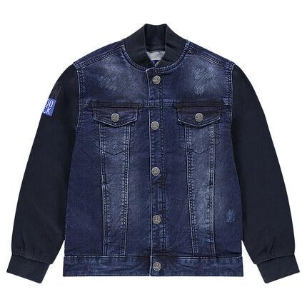 Junior - Veste en jeans esprit teddy avec manches en molleton ... 35cfb95c42d3