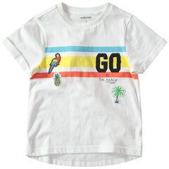 T-shirt manches courtes à bandes contrastées et badges esprit tropical