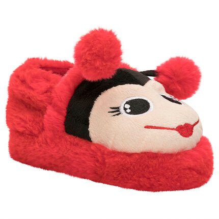 Chaussons peluche forme coccinelle