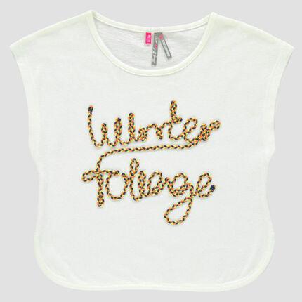 Tee-shirt manches courtes forme boîte avec inscription fantaisie