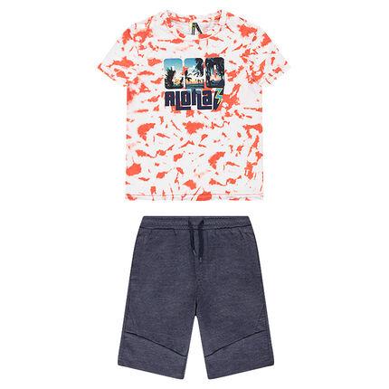Junior - Ensemble avec tee-shirt imprimé style shibori et bermuda en molleton chiné