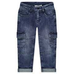 Jeans effet used et crinkle avec larges poches