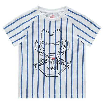 Tee-shirt manches courtes rayé avec print Marvel Iron Man