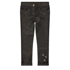 Pantalon en twill slim avec enduction pailletée