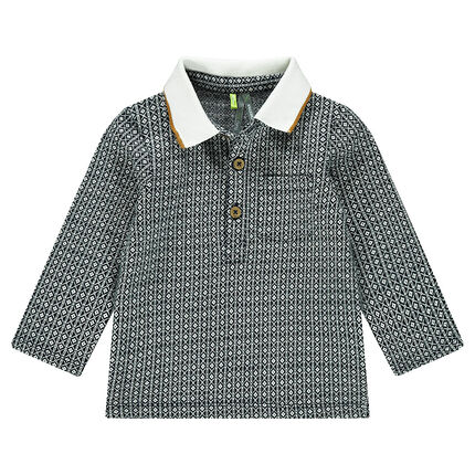 Polo manches longues avec motif jacquard all-over