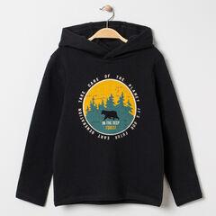 T-shirt manches longues à capuche print esprit forêt