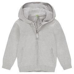 Gilet zippé à capuche en tricot