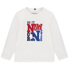 T-shirt manches longues en coton à textes printés et bouclette , Orchestra