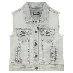 Junior - Veste en jeans courte et sans manches avec détails crochet