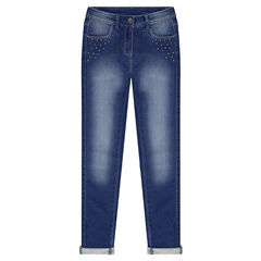 Junior - Jeans en molleton effet used avec clous fantaisie
