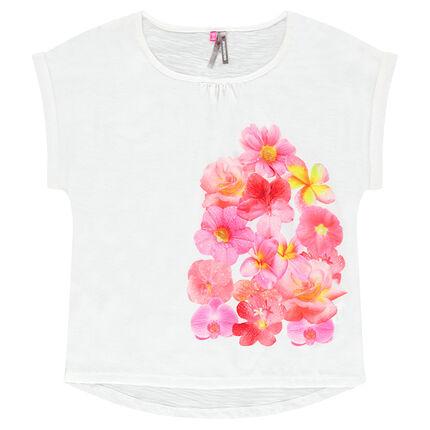 Tee-shirt manches courtes print fleurs sublimation
