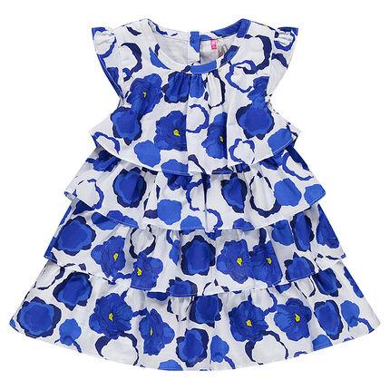 Robe à volants imprimé coquelicots bleus