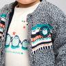 Veste en tricot doublée sherpa avec badge pingouin patché