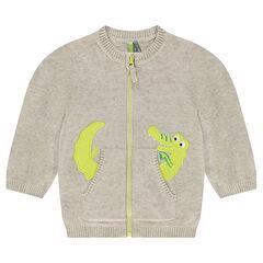 Gilet en tricot avec poches et crocodile brodé