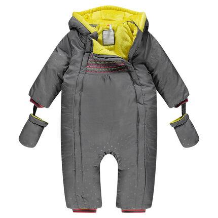 Combi-pilote à capuche effet fantaisie doublée sherpa et moufles amovibles