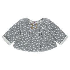 Veste en maille pop-corn avec doublure jersey imprimée