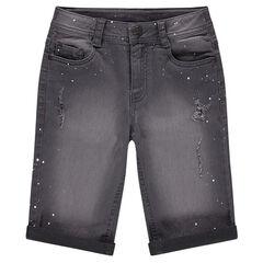 Junior - Bermuda en jeans used avec tâches effet peinture